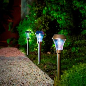 Leszúrható napelemes lámpa - AREIS (ezüst/antracit/barna)