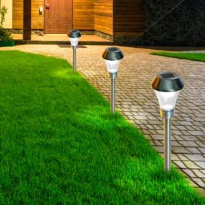 Leszúrható napelemes lámpa - AREIS TRIO (ezüst)